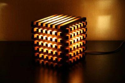 Wooden Bedside Light Cube
