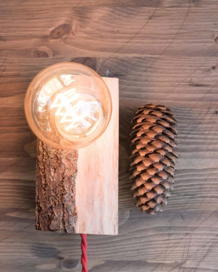 Small Wood Lamp with Tree Bark 3 - Table Lamps - iD Lights