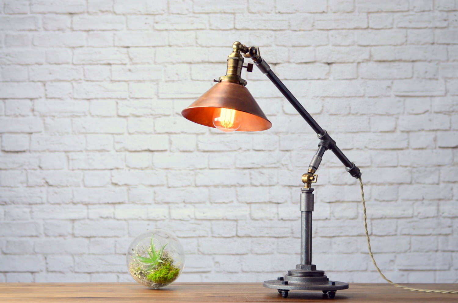 Industrial Copper Table Lamp 1 - Desk Lamps - iD Lights