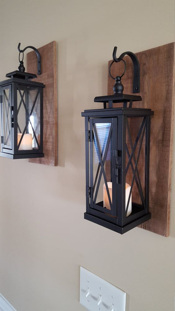 Set of 2 MEDIUM Rustic Wall Mounted Lantern Sconces Wall Lamps & Sconces