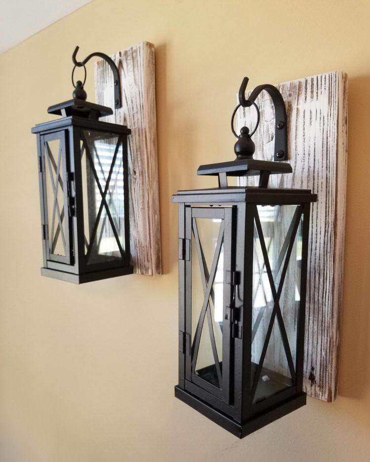 Set Of 2 Medium Rustic Wall Mounted Lantern Sconces Id Lights