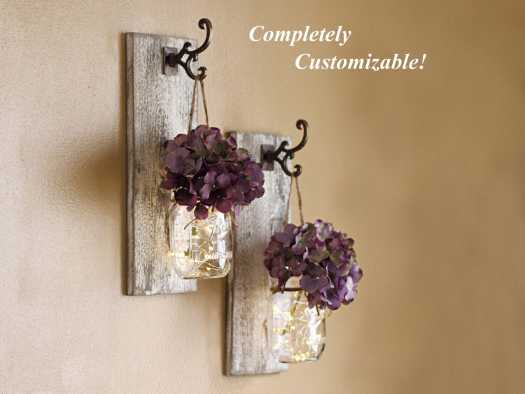 Shabby Chic Mason Jar Sconces Set 7 - Wall Lamps & Sconces - iD Lights