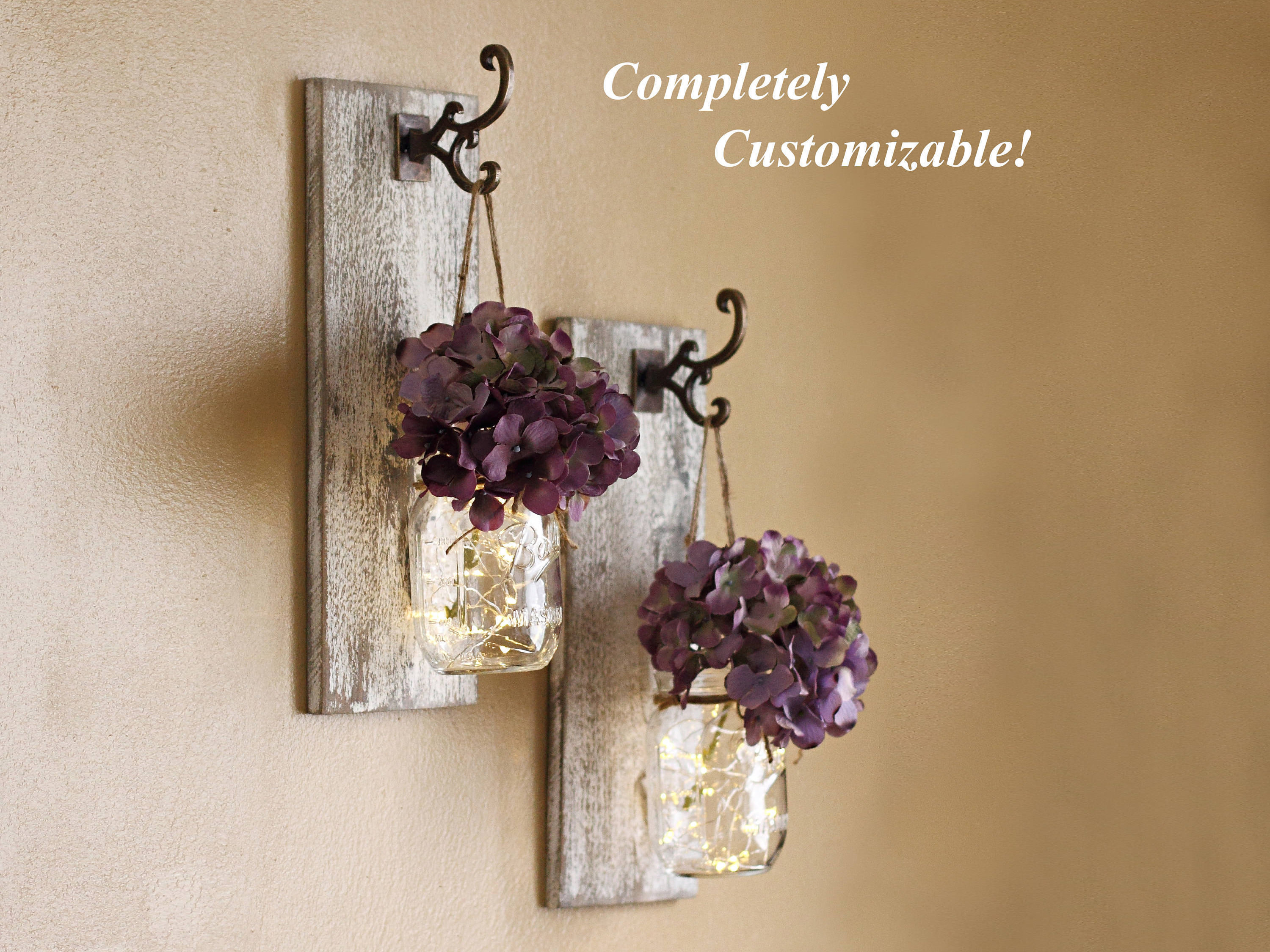 Shabby Chic Mason Jar Sconces Set - wall-lights-sconces