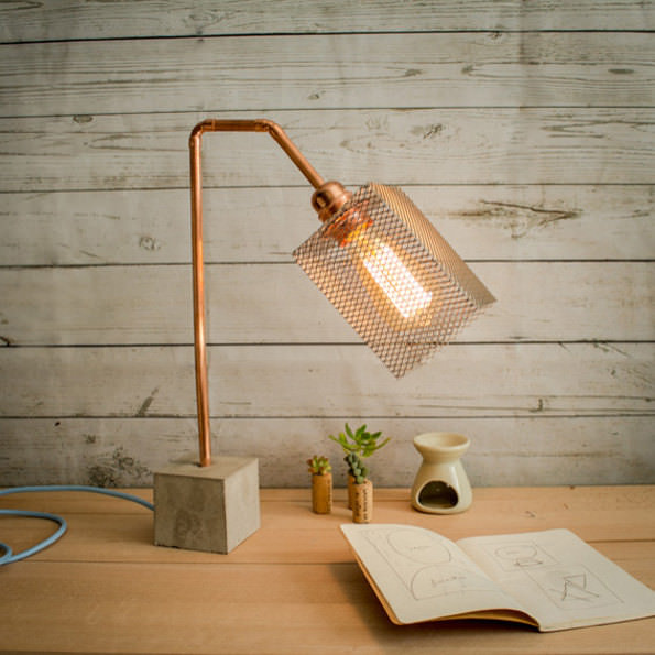 Industrial Concrete Copper Table Lamp 12 - Table Lamps - iD Lights
