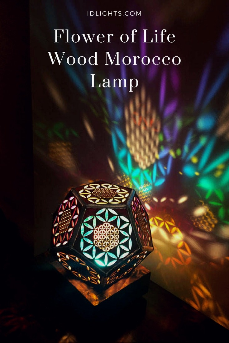 Flower of Life Wood Morocco Lamp