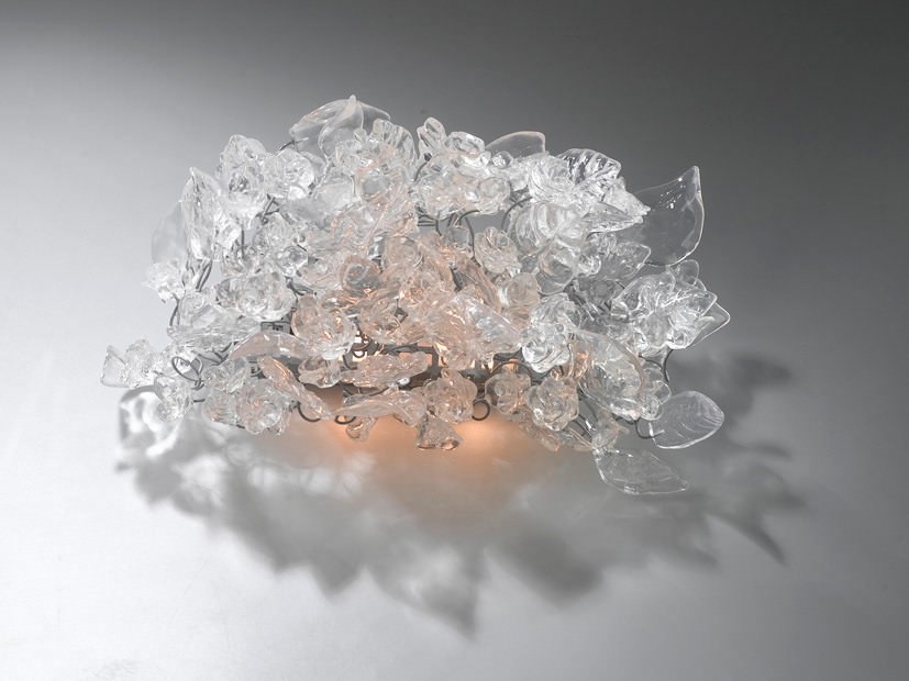 Sconce with Transparent Flowers and Leaves - wall-lights-sconces