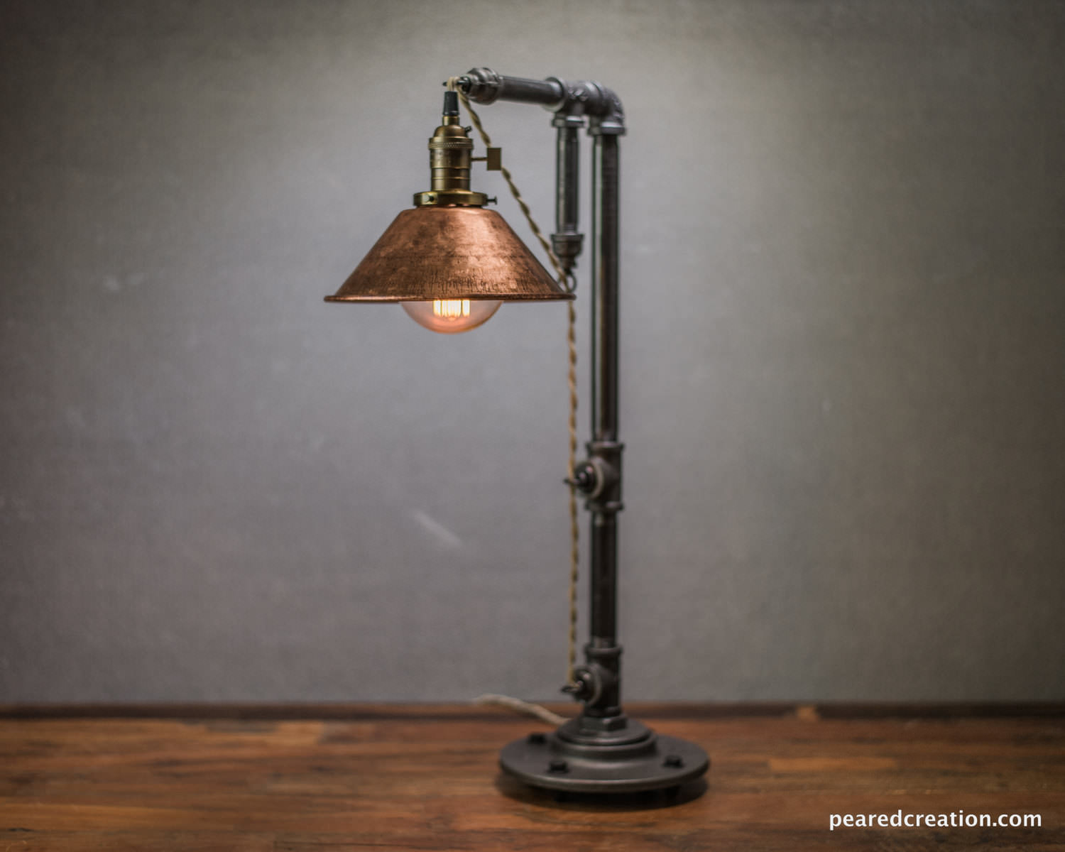 Rustic Iron Pipe Table Lamp - desk-lamps