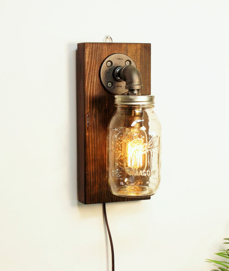 Rustic Wall Light with Mason Jar 1 - Wall Lamps & Sconces - iD Lights