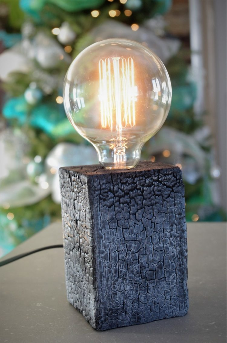 Amazing Burned Wood Table Lamp - wood-lamps, table-lamps