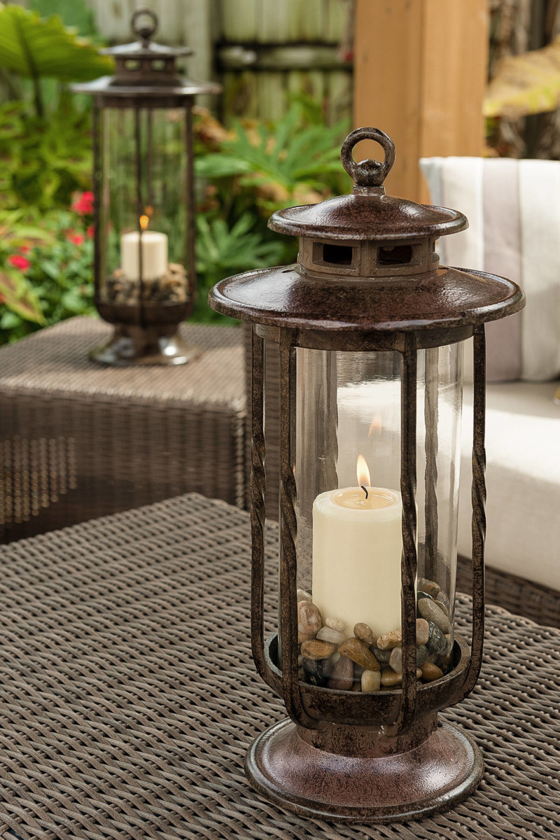 Decorative Hurricane Glass Candle Holder Lantern - outdoor-lighting