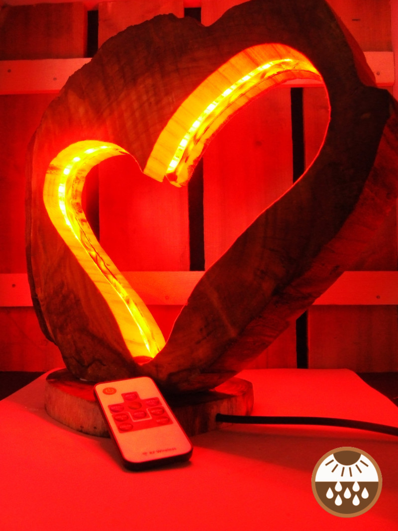Natural Wooden Love Lamp 1 - Outdoor Lighting - iD Lights