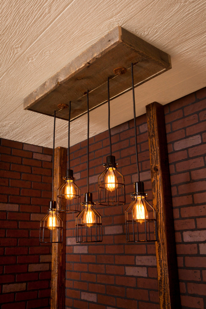 Reclaimed Wood Industrial Chandelier - chandeliers
