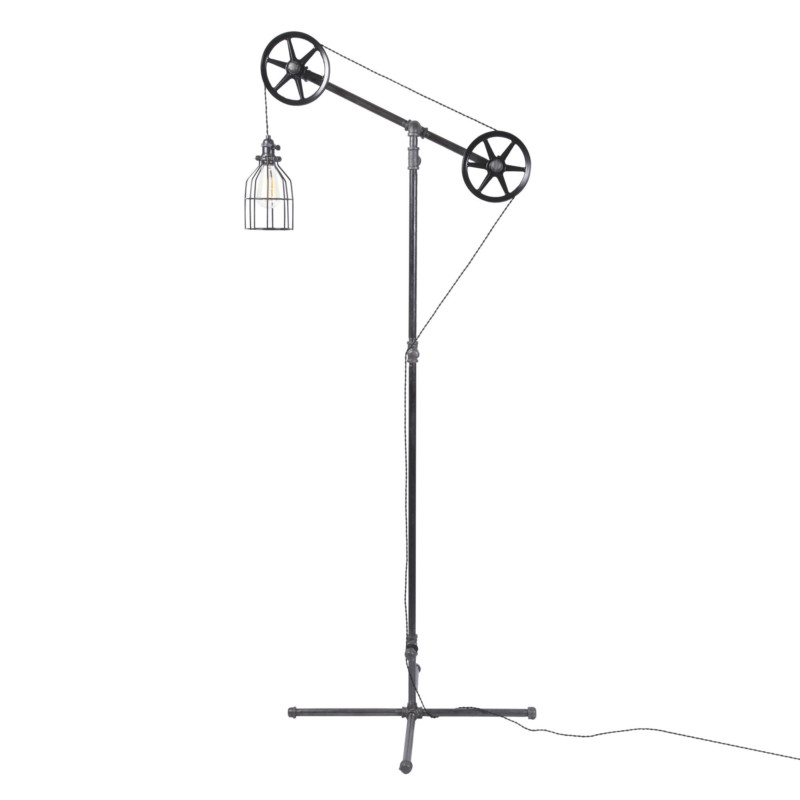 Industrial Pulley Floor Lamp 1 - Floor Lamps - iD Lights
