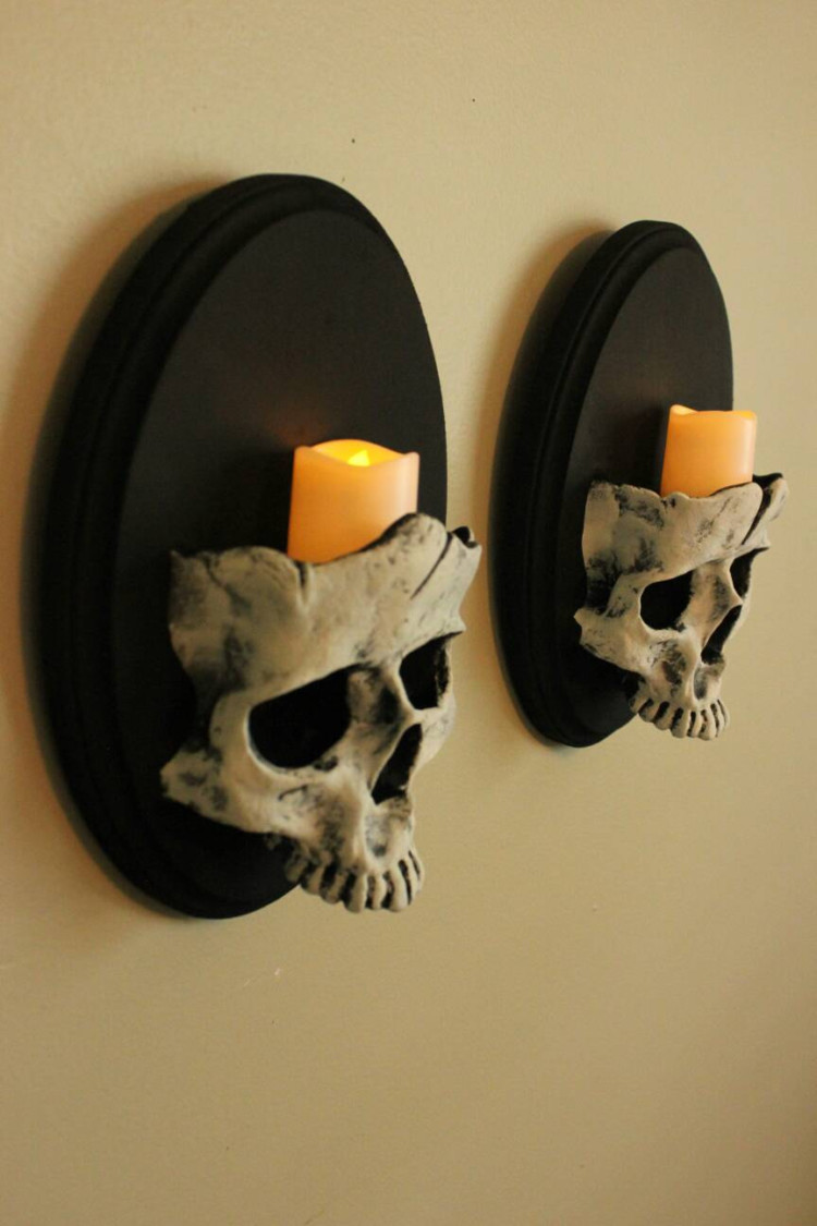 Set of Skull Sconces - wall-lights-sconces