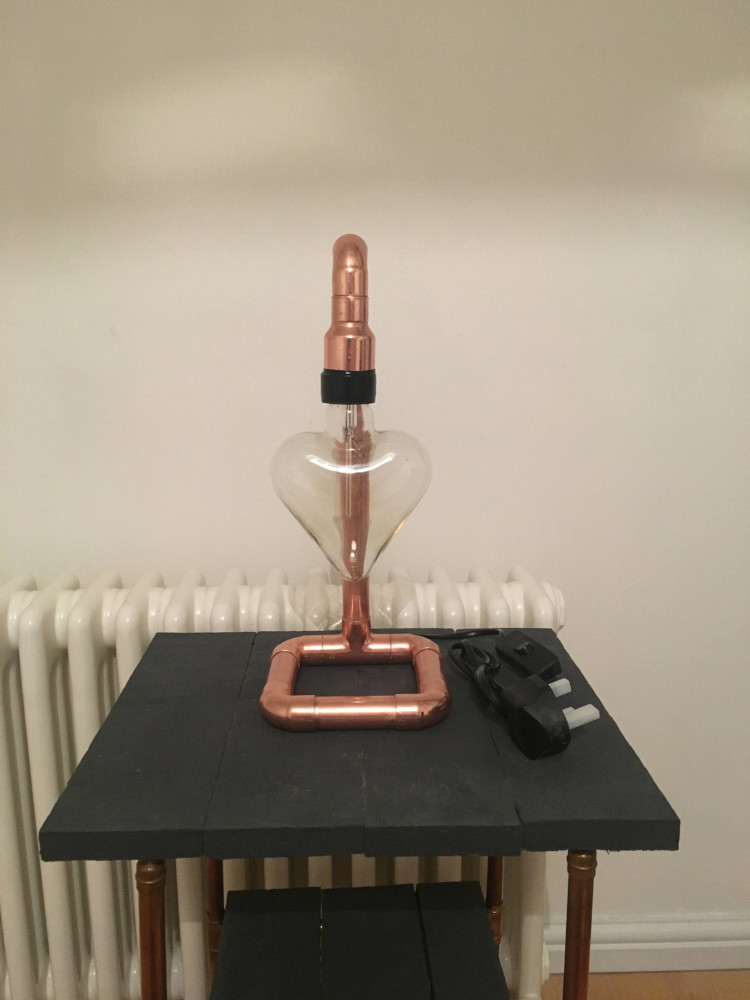 Copper Pipe Desk Lamp Inc LOVE HEART 3 - Desk Lamps - iD Lights