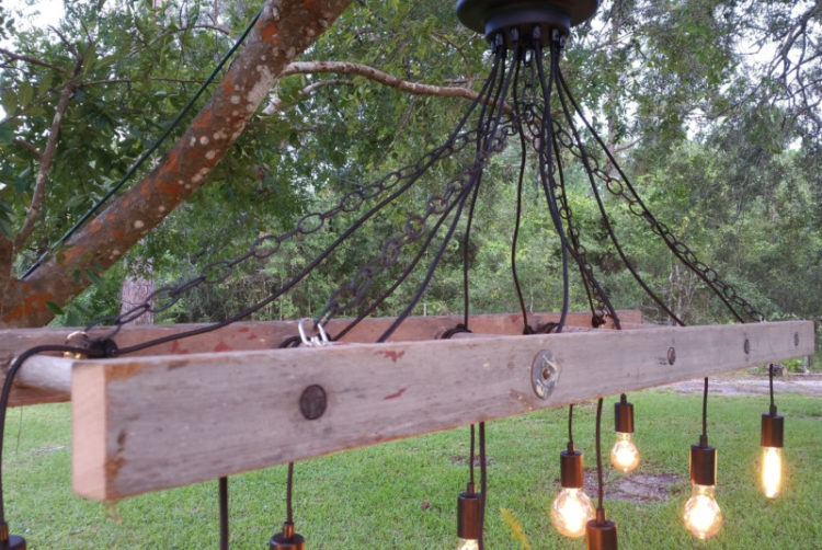Outdoor Antique Farmhouse Ladder Chandelier with Vintage Edison Bulbs