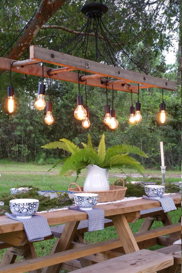 Outdoor Antique Farmhouse Ladder Chandelier with Vintage Edison Bulbs - pendant-lighting
