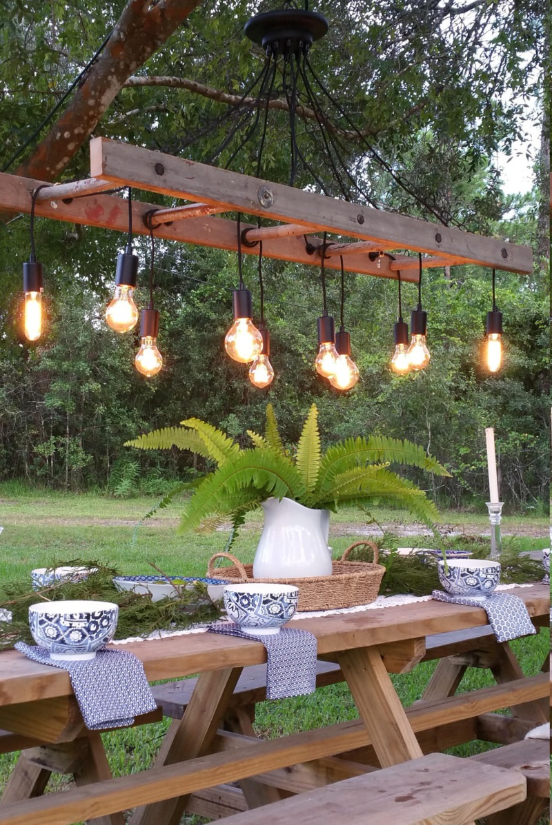 outdoor antique farmhouse ladder chandelier with vintage edison bulbs  u2022 id lights