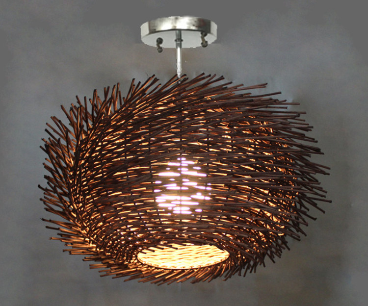 Flush Mount Bird Nest Shape Rattan Lightings 3 - Flush Mount Lighting - iD Lights