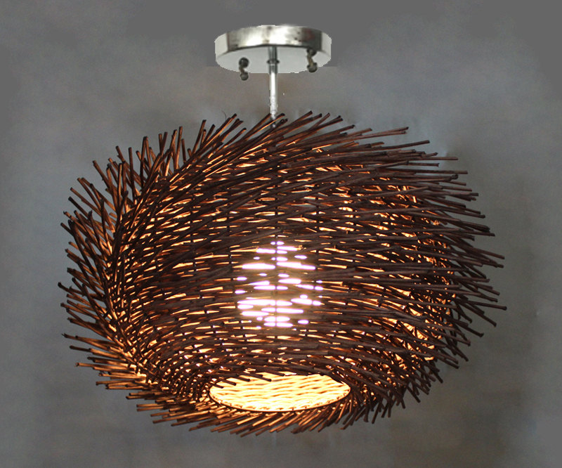 Flush Mount Bird Nest Shape Rattan Lightings - flush-mount-lighting