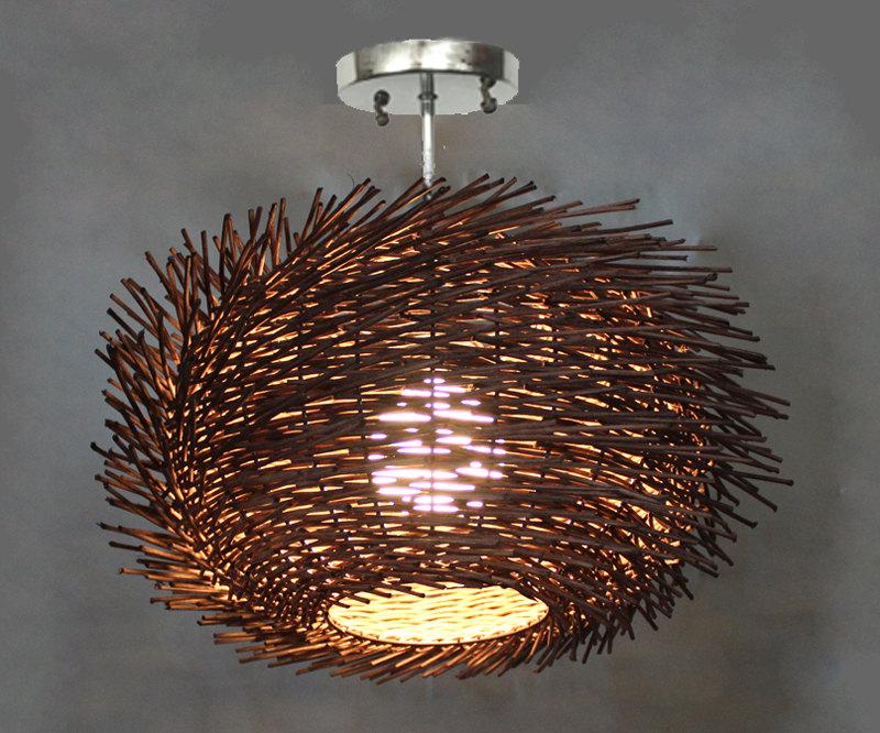 Flush Mount Bird Nest Shape Rattan Lightings 1 - Flush Mount Lighting - iD Lights