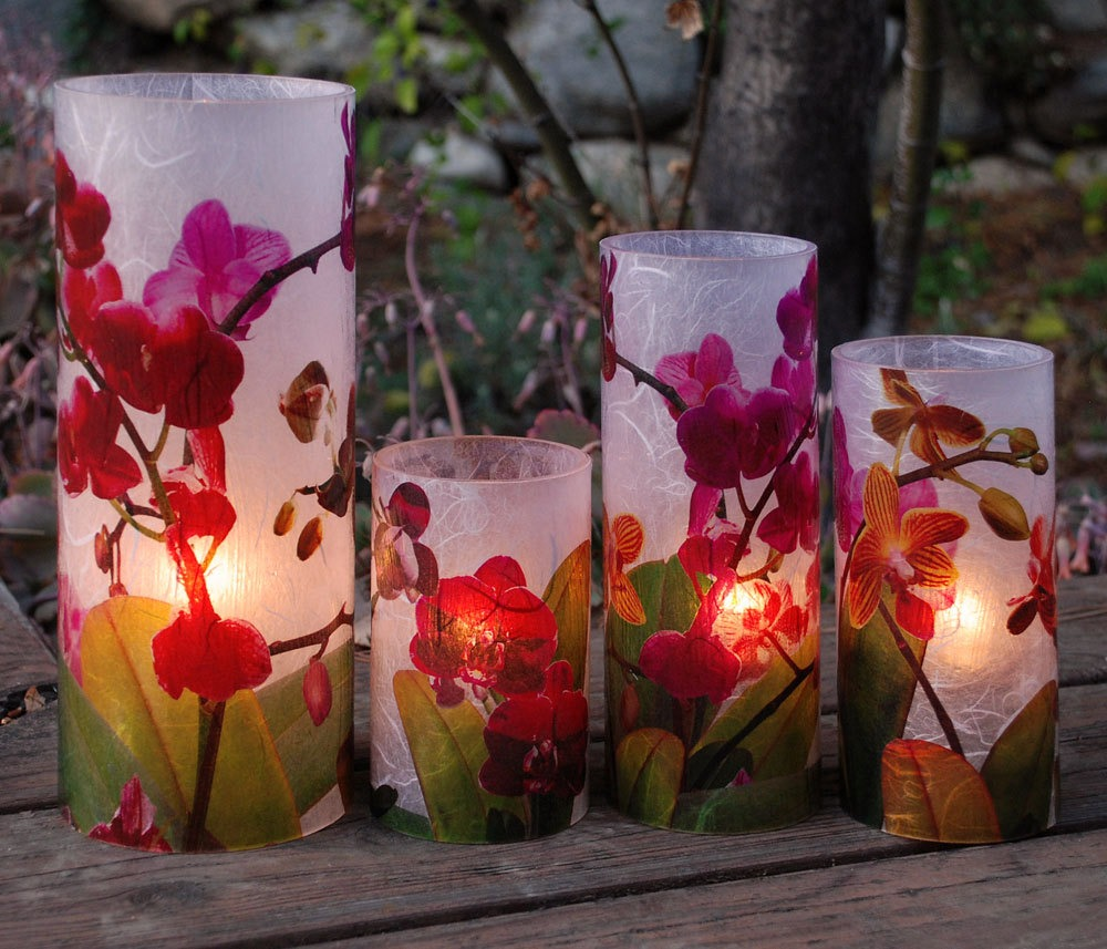 Orchid Blooms Extra Large Candle Holder