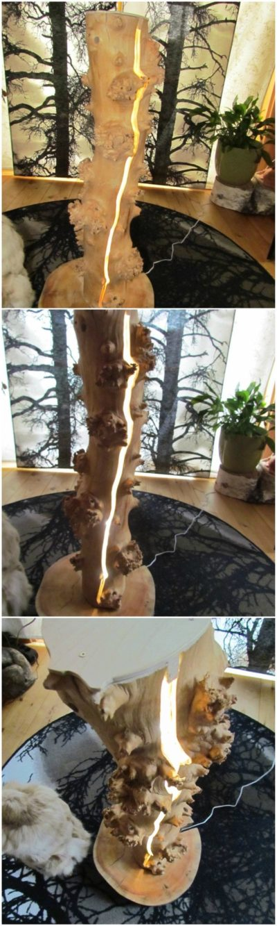 Tree Trunk Split LED Lamp