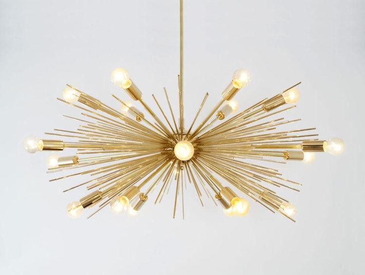 Mid Century Modern Gold Brass Sputnik Chandelier - chandeliers