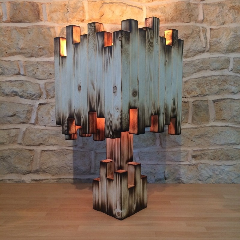 Amazing Burnt Wood Table Lamp - table-lamps