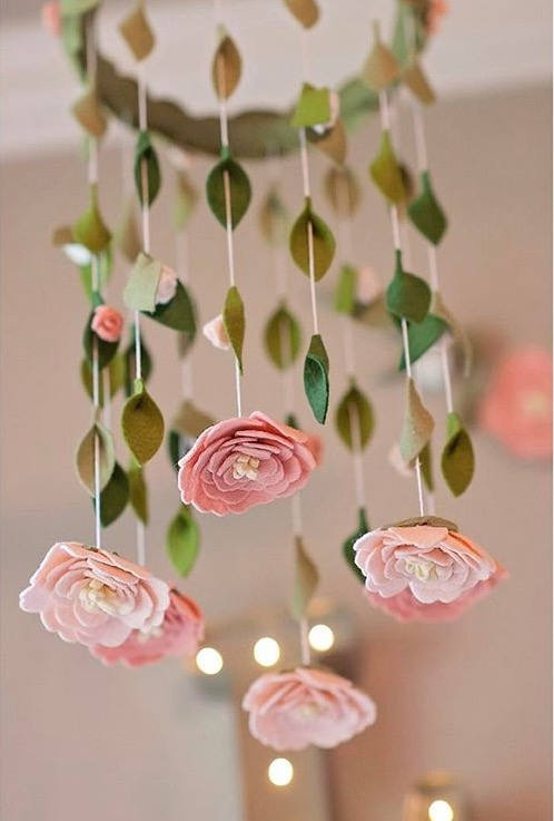 Flower chandelier nursery mobile | Blush, White, Pink | Felt Flower Mobile 3 - Chandeliers - iD Lights