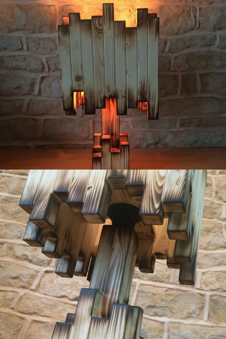 Amazing Burnt Wood Table Lamp