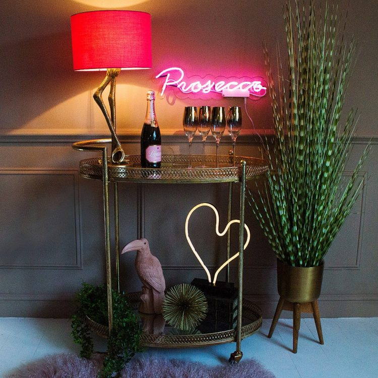Brass Flamingo Leg Table Lamp with Pink Shade - table-lamps