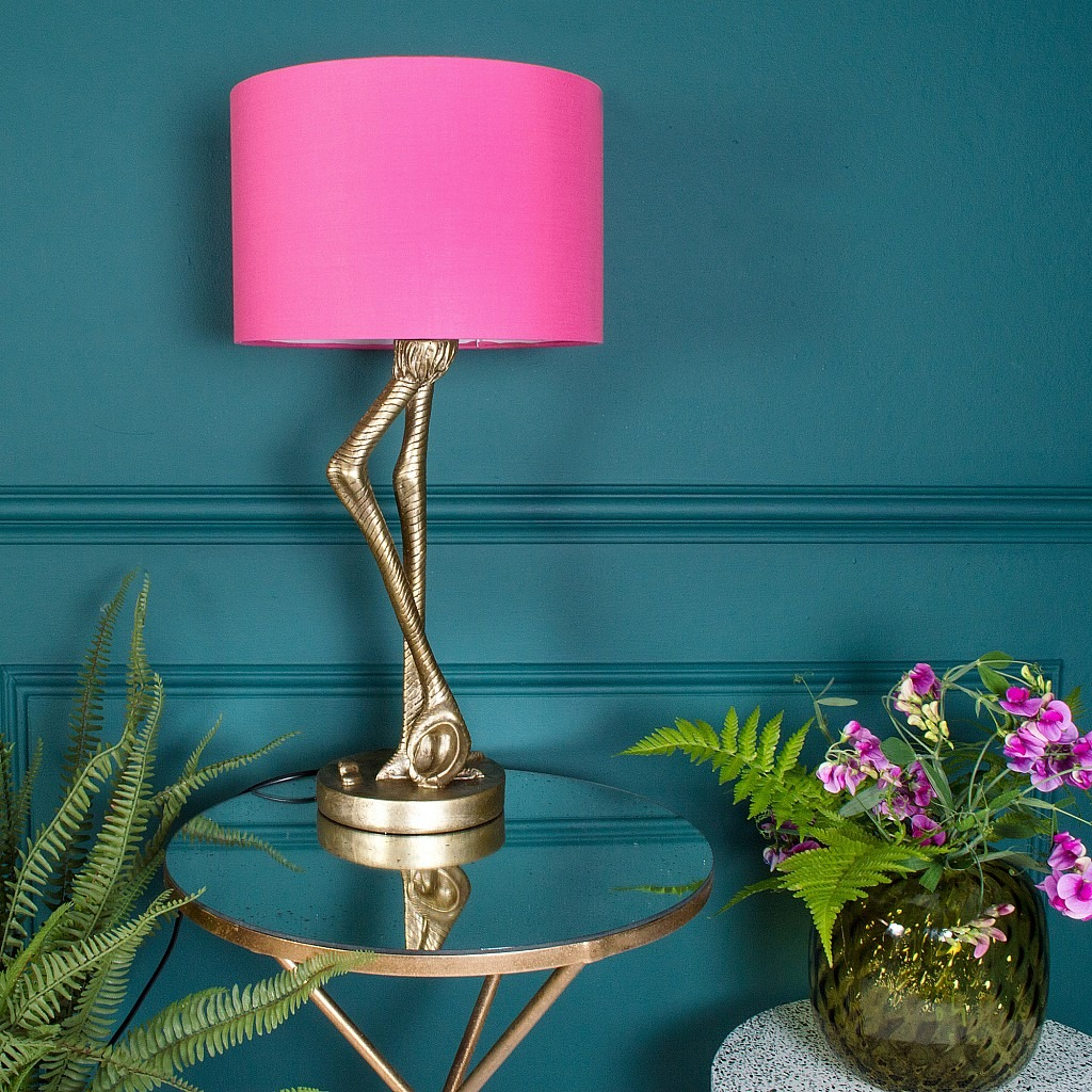 Brass Flamingo Leg Table Lamp with Pink Shade