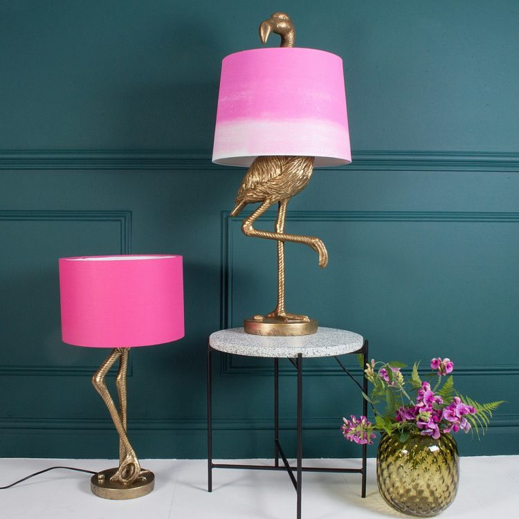 Brass flamingo leg table lamp with pink shade id lights brass flamingo leg table lamp with pink shade table lamps aloadofball Image collections