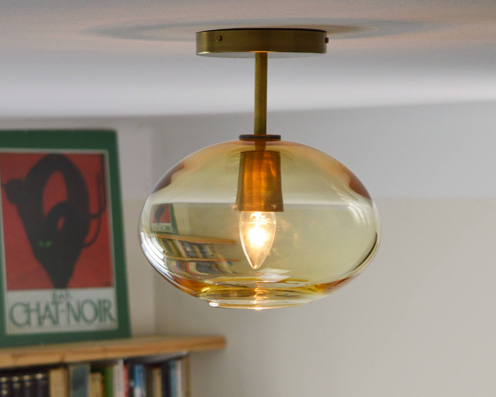 Light Amber Low Ceiling Hand Blown Glass Lighting - flush-mount-lighting