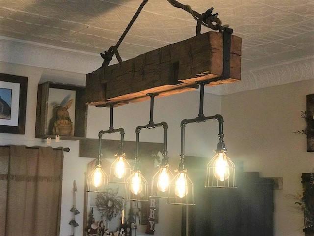 Handmade Beam Chandelier with Pipes - pendant-lighting