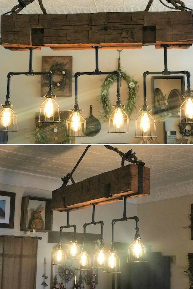 Handmade Beam Chandelier with Pipes