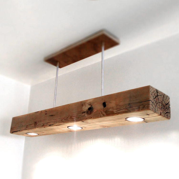 Reclaimed Wood Beam Spot LED Light Fixture - pendant-lighting