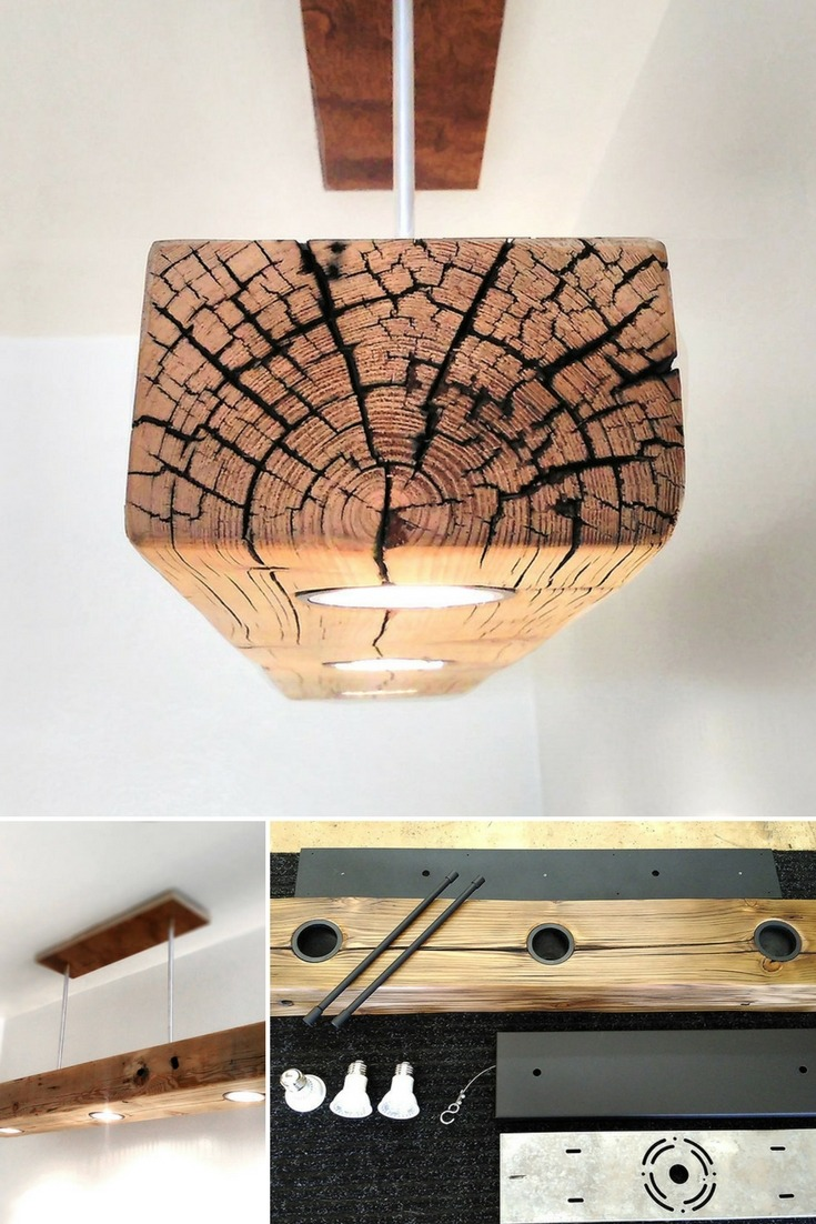 Reclaimed Wood Beam Spot LED Light Fixture