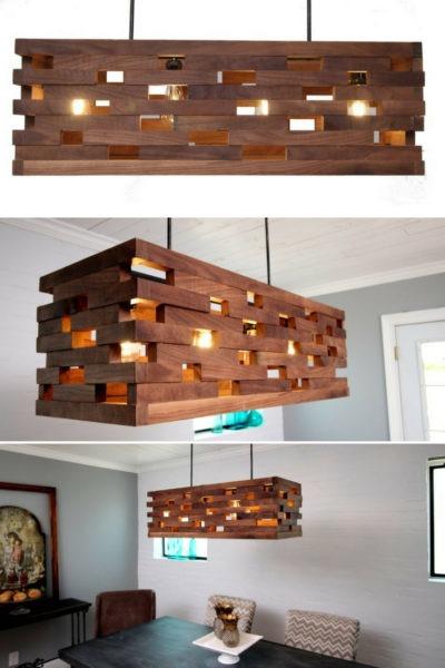 Walnut wood strips Pendant