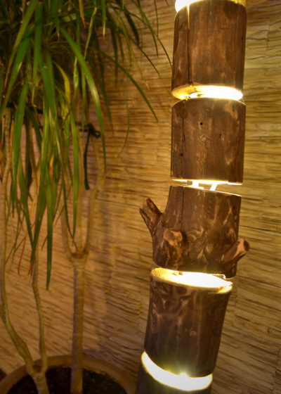 Wooden Floor Lamp made of Natural Logs
