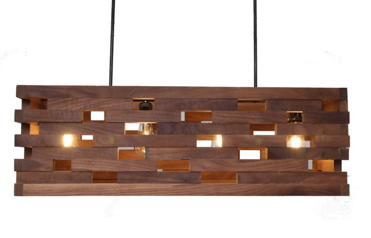 Walnut wood strips Pendant - pendant-lighting