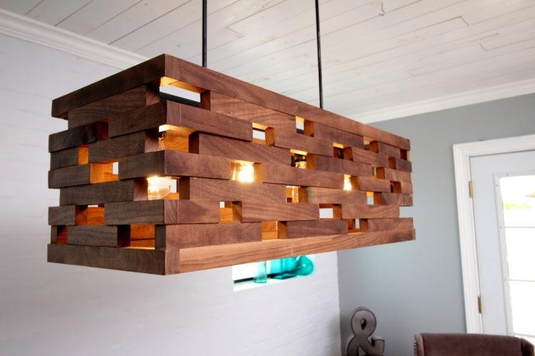 Walnut wood strips Pendant - pendant-lighting