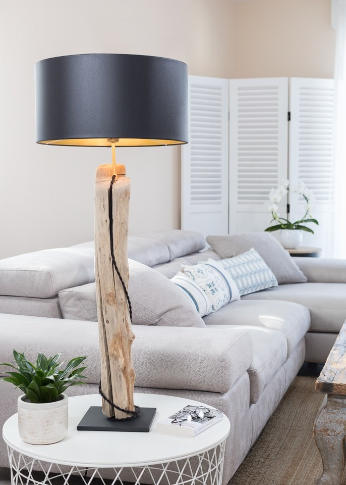 Driftwood Lamp with Black Lampshade