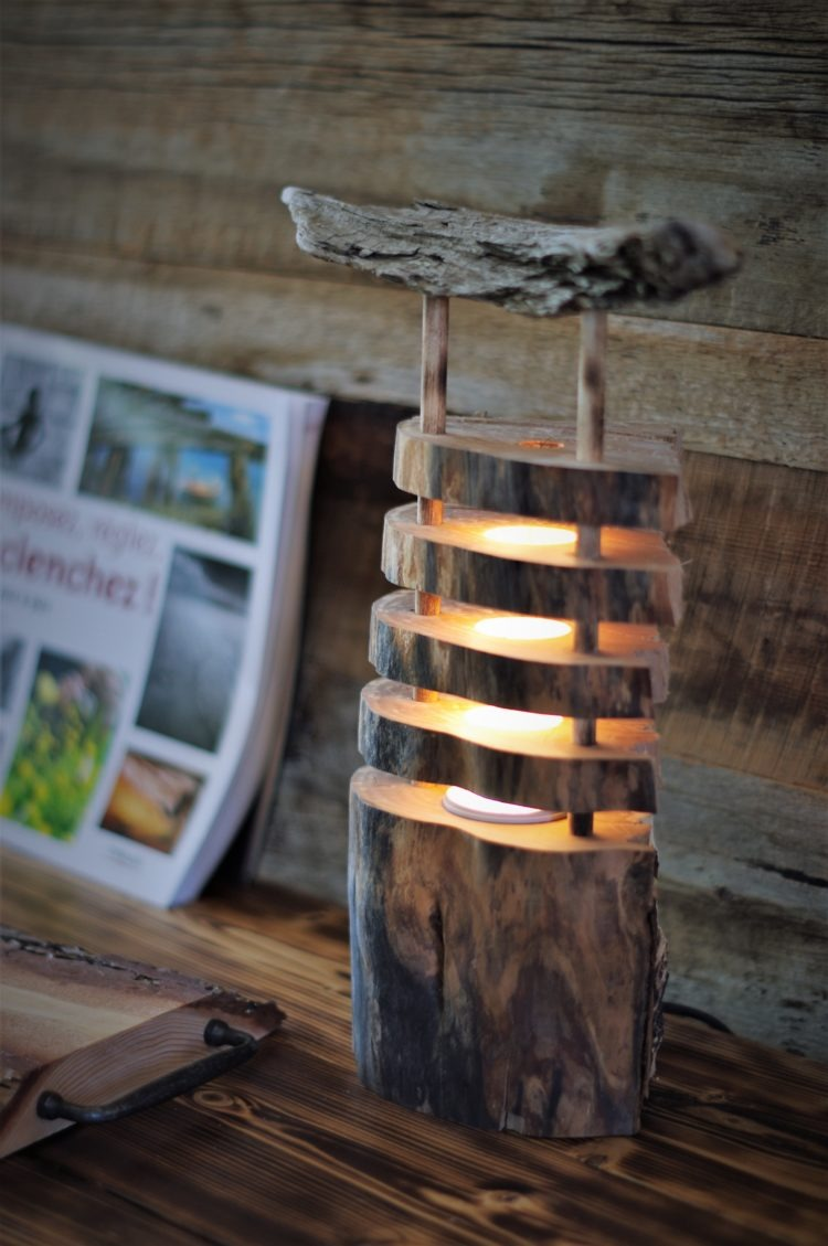 Seaside driftwood log lamp - wood-lamps, table-lamps