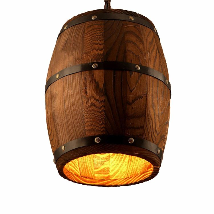 Antique Wood Wine Barrel Pendant Lamp
