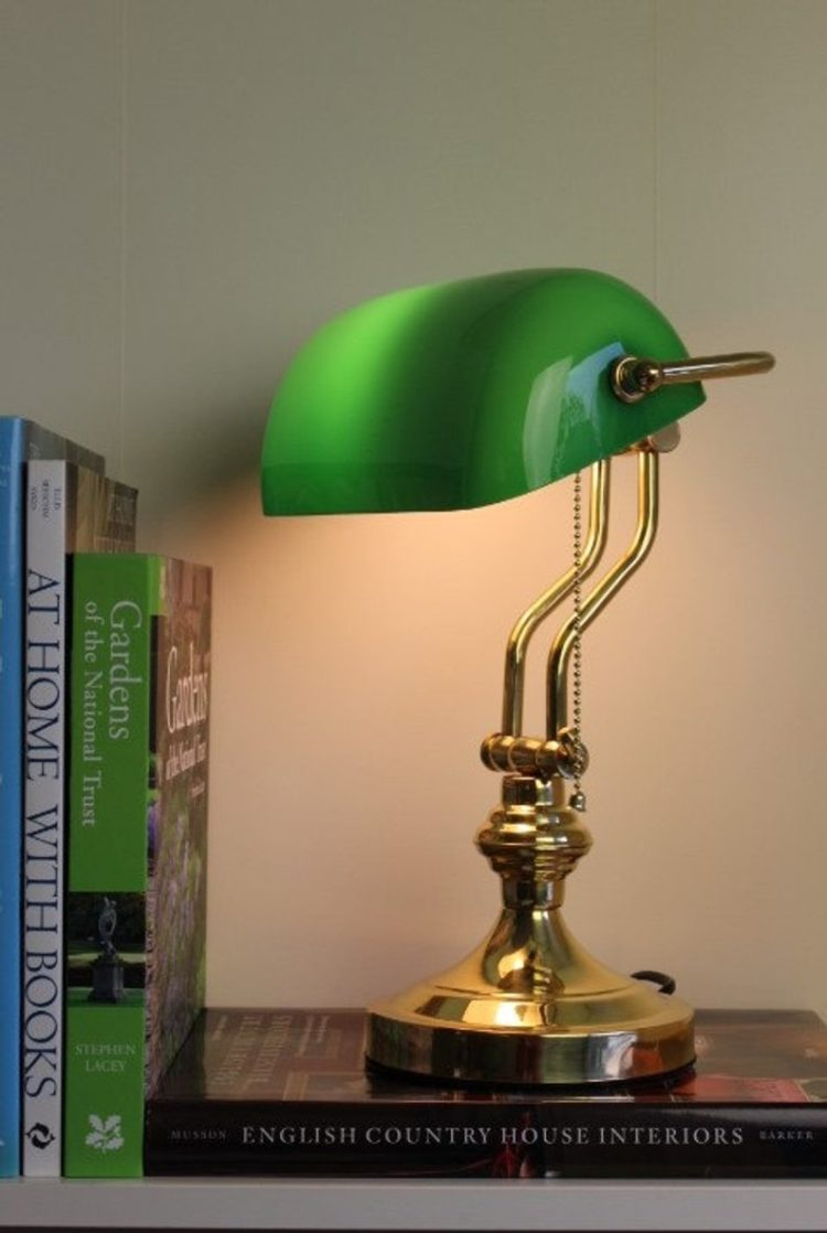 Solid Brass Bankers Lamp Green Glass England London library university