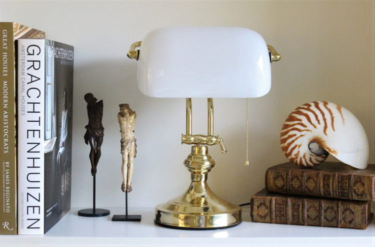 Solid Brass Bankers Lamp White Glass England London library university