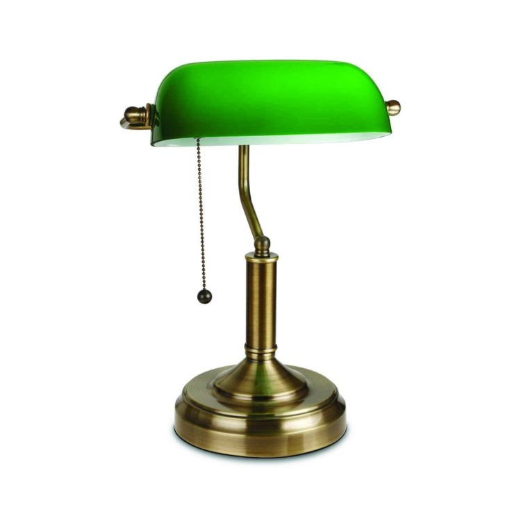 Traditional Bankers Lamp Antique Style Emerald Green Glass Desk Light Fixture Satin Brass Finish Metal Beaded Pull Cord Switch Attached.jpg