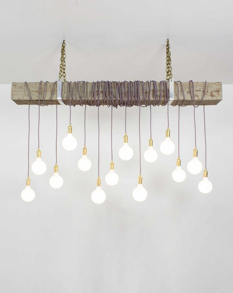 Amazing Pendant Wooden Beam with Golden Chains and White Bulbs
